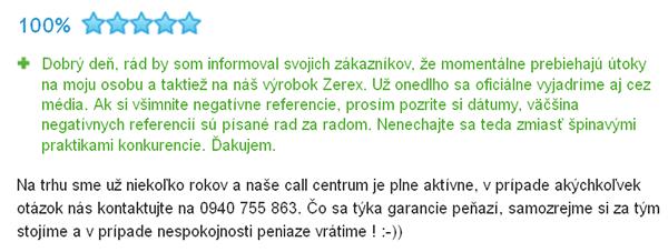 Reakcia predajcu produktov ZEREX