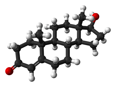 3D chemický vzorec testosterónu